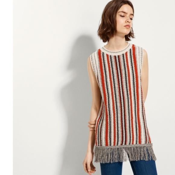 2ad88a54e8dd Massimo Dutti Sweaters | Striped Waistcoat With Fringe | Poshmark